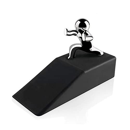 Brosse en acier Alliage de zinc chaud Little and Homme avec des bases de caoutchouc antidérapantes ARRÊT DE PORTE PORTE ANTI-COLISION COTEUR NOUVELLYDESIGN Outils de récupération. ( Color : Black )