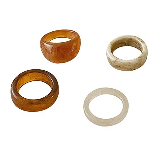 QXPDD Juego de 5 anillos de resina coloridos para nudillos gruesos, apilables, anillos geométricos, vintage, joyas elegantes para mujeres, conjunto de 1 a 4 piezas