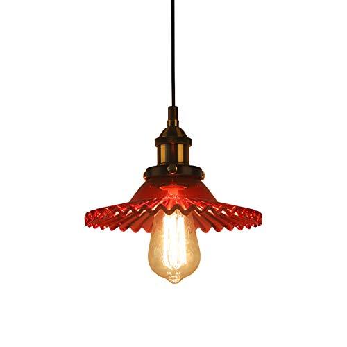 Huahan Haituo Industrial Vintage colgante lámpara de cristal pantalla de vidrio retro lámpara de suspensión de la lámpara de techo lámpara colgante lámpara de luz colgante (rojo)