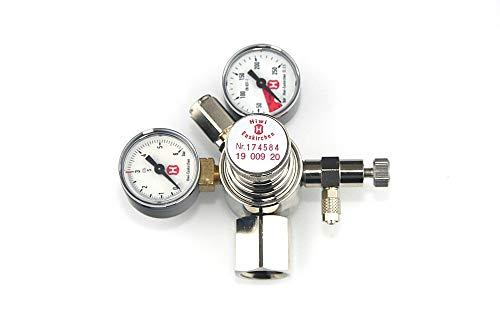 Hiwi Druckminderer CO2 Mehrweg fest verbauter Adapter z.B. für Sodastream Zylinder o.a. 2 Manometer mit Rückschlagventil