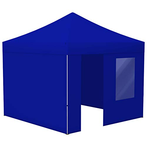 Vispronet® Faltpavillon Eco 3x3 m ✓ 4 Zeltwände (3 Vollwände, 1 Wand mit Tür & Fenster) ✓ Scherengittersystem ✓ inkl. Dach mit Volant (Blau)