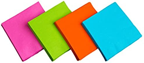 Party Essentials 2-Ply Paper Luncheon Napkins, Assorted Neon Brights, 48-Count