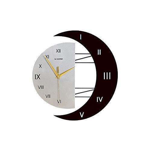 Quartz Klok, Zon en de Maan Simple Kijk Wall Clock Living Room Modern Fashion Wall Chart Creative Mute Huis Clock (Color : Style1, Size : 12inch)