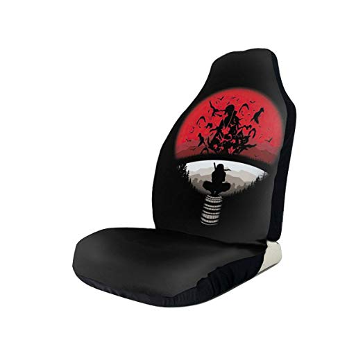 WQOIEGE Anime Uchiha Clan Itachi Logo Naruto Universal Fit Decorative Car Seat Covers Set Simplicity Fit for Vehicles Cars, Suvs, Vans, Airbag Compatiable