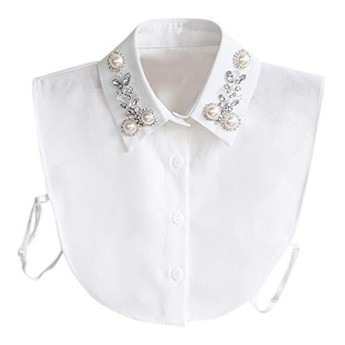 Jolisson Damen Abnehmbare Gefälschte Halb Revers Perle Vintage Schwarz Weiß Strass Hemdbluse Kragen mit Verstellbaren Bändern (One size, A Weiß)