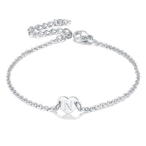 FaithHeart Edelstahl Damen Herz Armband mit Buchstabe N Mädchen Namenskette Armbändchen mit Geschenkebox