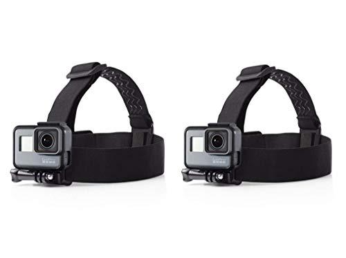 Febbya GoPro Kopfgurt, 2er Pack Verstellbar Kopfband Kamera Wasserdicht Kopfhalterung Mount Actionkamera Headstrap für GoPro Hero 6 5 4 Session Universal Rutschfest Schwarz