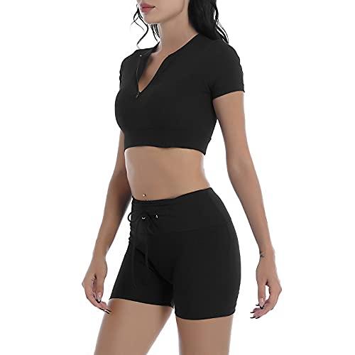 YOOJIA Mujeres Ropa Deportiva de Verano de 2 Piezas Traje de Yoga Gimnasia con Pantalones Cortos con Cordones Traje de Ocio para Deporte Negro S