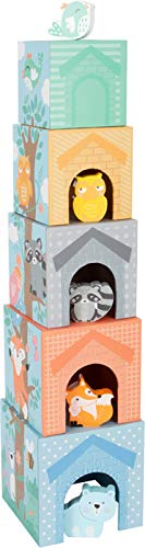 Small Foot 11721 Pastell, fünf farbige Stapelwürfel aus Holz mit Tierfiguren, ab 12 Monaten Toys