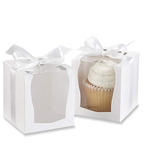 12 piezas Cajas Cupcakes Blanca, Recipientes de Pastel Desechables, con Bandeja Interior y Cinta Blanca, para Cumpleaños de Fiesta de Cumpleaños de Candy Candy Treat (3.5 x 3.5 x 3.5 pulgadas)