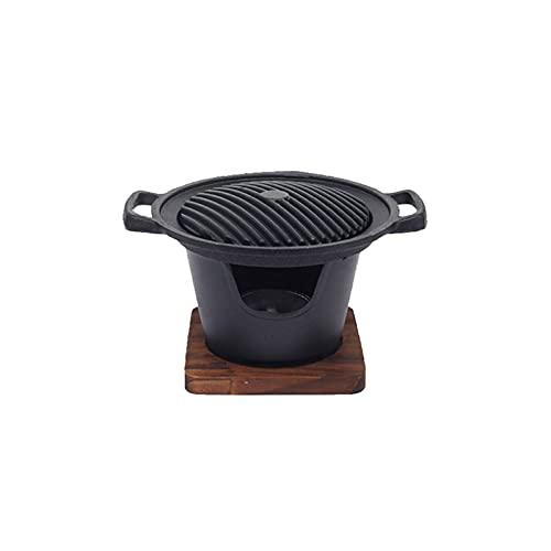 SASAU Creativo Estilo japonés una Persona cocinar Horno hogar Marco de Madera Estufa de Alcohol Regalo Mini Barbacoa Horno Parrilla Coreano BBQ (Color : H02)