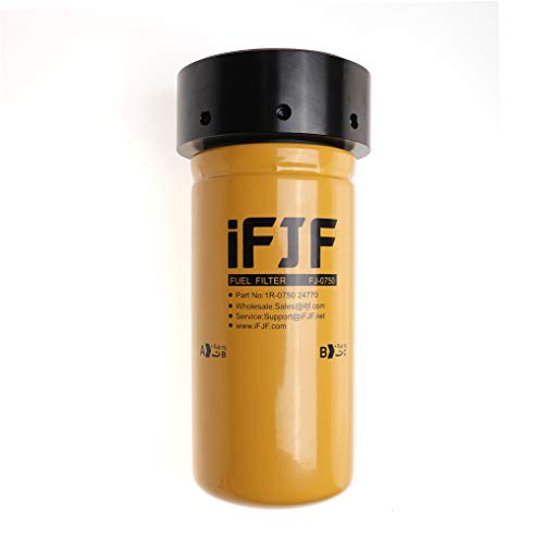 iFJF 1R-0750 Fuel Filter and Adapter Refit Head Replacement for Duramax 6.6L V8 2001-2016 Chevy Silverado/GMC Sierra 2500HD 3500HD Diesel Engine LB7/LLY/LBZ/LMM/LML Replaces TP3018 12664429
