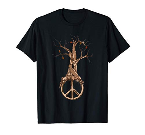 Hippie Tree Peace Sign | Winter Autumn FallLovers T-Shirt