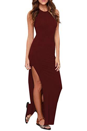 Meenew Women's Maxi Length Knit Tank High Side Slit Summer Beach Dress Ruby L