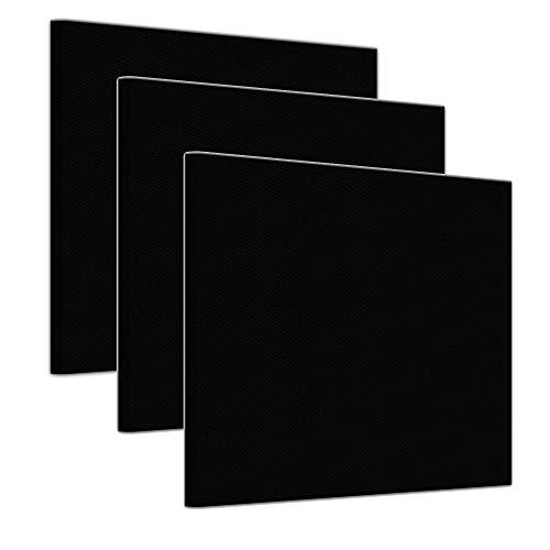Bilderdepot24 Leinwand in schwarz, bemalbare Premiumqualität, aufgespannt auf Galerie Keilrahmen - Echtholz - Quadrat-Format - 3er Set je 30x30 cm - 330g/m² - fertig...