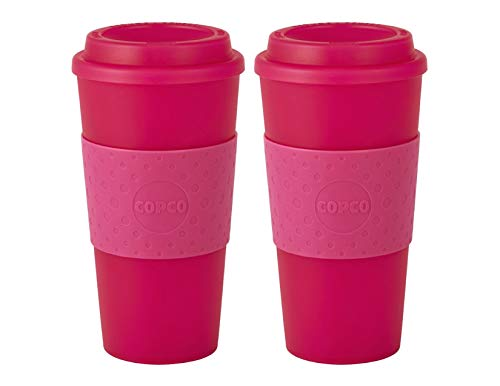 Copco Acadia Double Wall Insulated 16 oz Travel To Go Mug with Non-Slip Sleeve, Set of 2, Commuter Friendly, Drink On the Go (Translucent Pink)