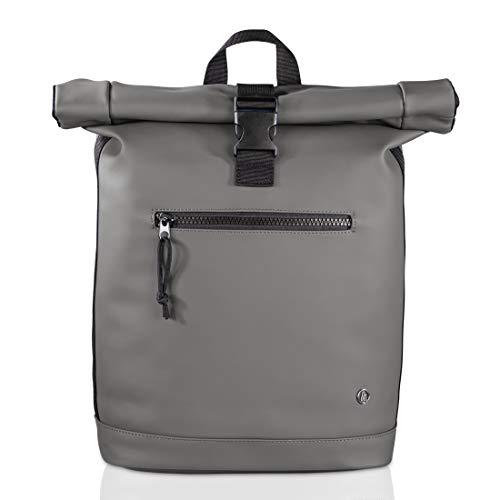 Hama Laptop Rucksack für Damen & Herren (Rolltop Rucksack mit Notebook Fach für PC bis 15.6 Zoll und Tablets, 15 Liter Fassungsvermögen, ergonomisches Design) grau