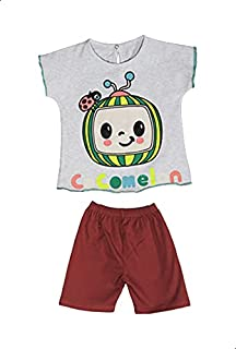 Jockey Printed Short Sleeves Round Neck T-shirt with Plain Shorts for Girls 9-12 Months
