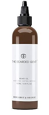 The Bearded Gent Beard Oil - Moisturiser & Conditioner for Men's Facial Hair & Skin - Argan, Jojoba & Grapeseed Oils - Helps Prevent Itching & Dandruff - Softener, Thickener - Bergamot & Orange - 100ml