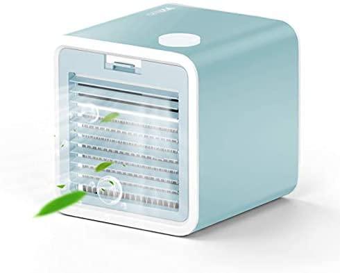 VAZILLIO Mini Climatizzatore Portatile, 3-en-1 Condizionatore - Raffreddatore d'Aria/Umidificatore/Ventilatore del Condizionatore Mobile Silenzioso, 3 Velocità, Ricarica USB per Ufficio/Casa - Ciano