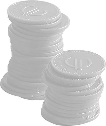 HENDI Pfandmünzen, Stückzahl: 100, Weiß, ø25mm, ABS Kunststoff