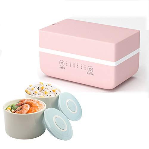 ZAHNG 220V Elektroheizung Lunch Box, Mini Suppentopf Reiskocher, Keramik Mahlzeit Container Lunchbox Porridge, Anti-Dry Brennen Lebensmittel-Wärmer-Heizung,Rosa