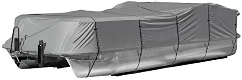 """Leader Accessories Trailerable Pontoon Boat Cover,Durable Marine Grade Grey 300D Polyester Fits 25'-28' Length Beam Width Up to 104"""""""