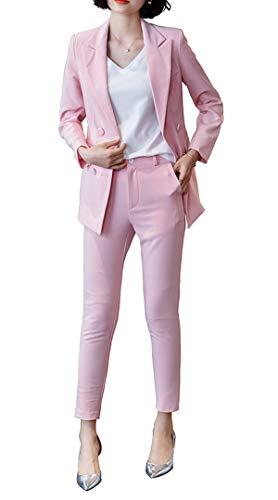 Women's Elegant Business Two Piece Office Lady Suit Set Work Blazer Pant (Suit Set-Black, XS)