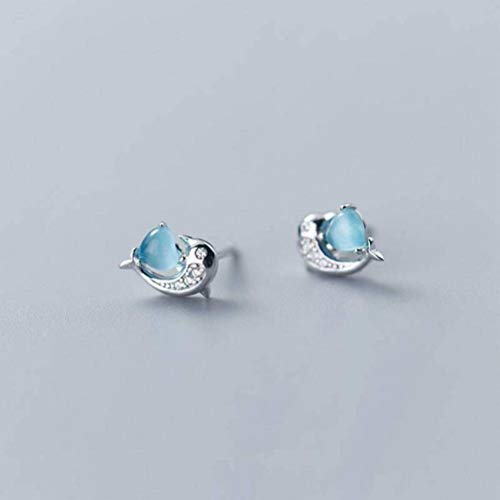 Katylen Weibliche S925 Sterling Silber Kleine Frische Wald Stil Ohrringe Mode Diamant Delphine Ohrringe Temperament Süße Liebe Ohrringe Ohrschmuck, Blue