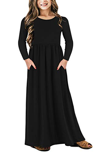 GORLYA Girl's Long Sleeve Floral Print Loose Casual Holiday Long Maxi Dress with Pockets 4-12 Years (6-7Years/Height:120cm, Black Color)