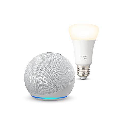 Echo Dot (4ª generazione) con orologio, Bianco ghiaccio + Philips Hue White Lampadina Connessa (E27), compatibile con Alexa