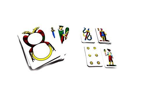 Generico RICEVI 2 MAZZI, 1 Mazzo Carte NAPOLETANE GIGANTI 17X10 CM E 1 Mazzo Classico 8,5X5 CM Scopa BRISCOLA SCOPONE SCIENTIFICO Omaggio Portachiavi Corno