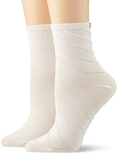 Tommy Hilfiger Damen TH WOMEN SHORT SOCK 2P OPEN BIAS Füßlinge, Weiß (White 300), (Herstellergröße: 35/38) (2er Pack)
