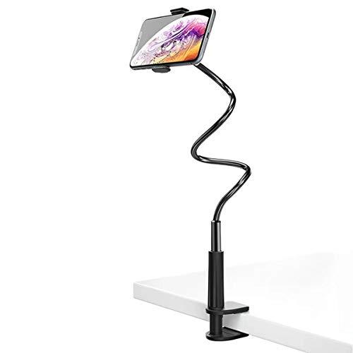 Tianyidq Supporto Cellulare, Flessibile Collo Oca Porta Cellulare da tavolo Bracci Lunghi Supporto Telefono Letto Cavalletto per Smartphone per iPhone e Tutti i Modelli di Telefono(Nero)