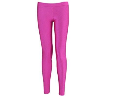 BONAMART Damen Mädchen Sexy Punk Glanz Bunt Neon Pink Leggings Leggins Hose, Länge: 33 , Waist?25-32, Hip?33-40, Hot pink