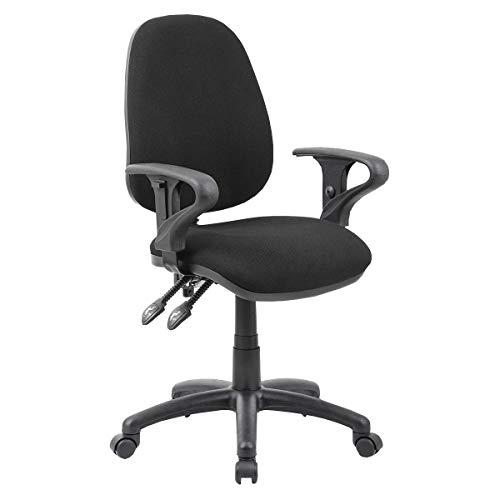 Büromöbel Online 2-Hebel Bürostuhl mit höhenverstellbaren Armlehnen   Comfort Ergo   Schwarz