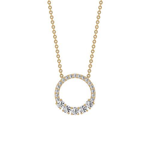 Diamante de corte brillante 1/2 ct certificado círculo abierto declaración colgante, mujer oro promesa de eternidad colgante apilable, conjunto de colgante para niñas 10K Oro amarillo