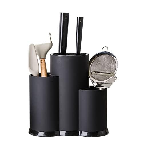 Multifunción Soporte de utensilios Bloque de cuchillo PP Escurridor Caja de almacenamiento Cuchara Tenedor Cocina Organizador Rack (negro)