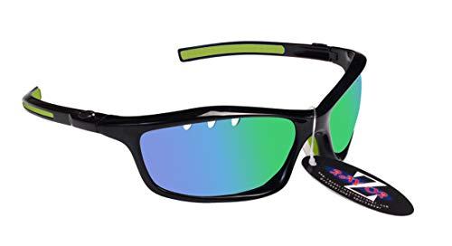 Rayzor - Gafas de sol deportivas ligeras para correr, antideslumbrantes, para hombres y mujeres, protección UV 400 con marcos inastillables, Negro - Espejo de iridio verde (401)