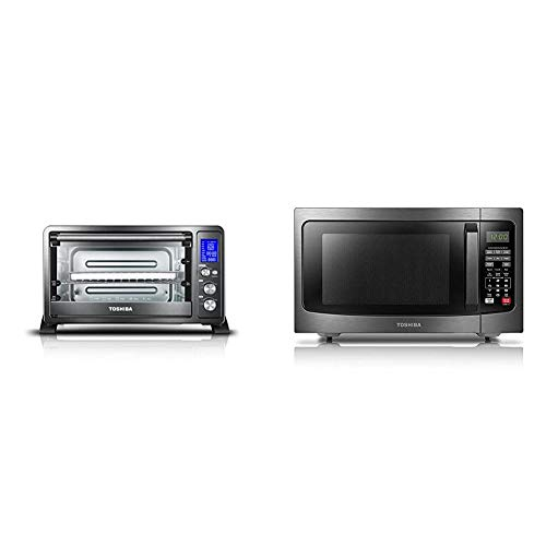 Toshiba AC25CEW-BS Digital Toaster Oven & EM131A5C-BS Microwave Oven with Smart Sensor, Easy Clean Interior, ECO Mode and Sound On/Off, 1.2 Cu.ft, Black Stainless Steel