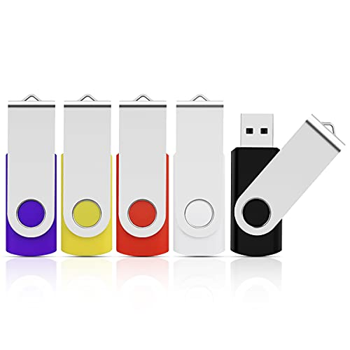 Cle USB 8Go Lot 5 Clé USB 2.0 Pas Cher Flash Drive Porte Clé Stockage Disque Mémoire Stick pour Windows, PC, Ipad, Enregistreur, Linux (Clip d'Argent)