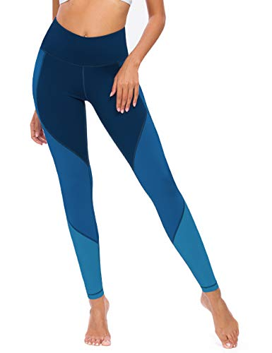 QUEENIEKE Damen Yoga Hosen Color Blocking Training Laufende LeggingsGröße 8/10 Farbe Tiefes Blau