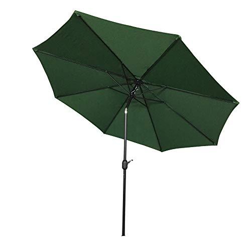 Aufun Sonnenschirm 300cm mit kurbel UV Schutz Neigbar 40+ - Grün Alu Balkon Terrassenschirm Marktschirm Gartenschirm (Grün)