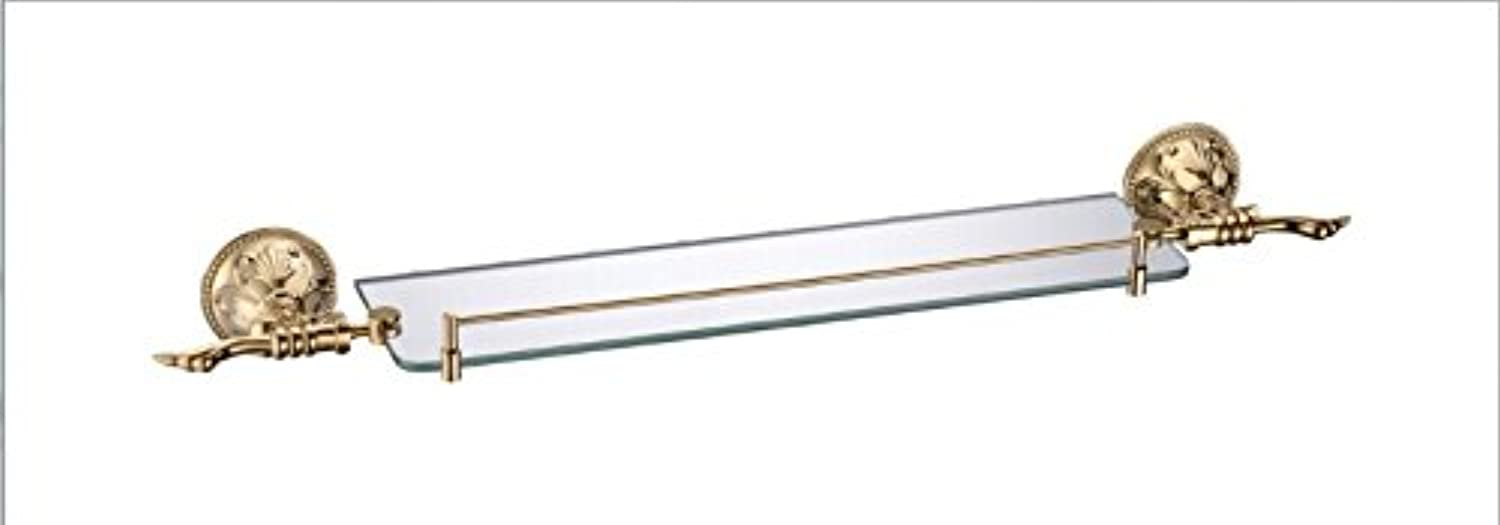 XAH@ Copper single layer glass shelf titanium 665 12611A exports of gold bathroom hanging frame , 66513084mm