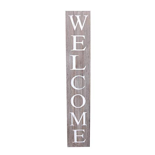 ALBEN Welcome Sign for Front Door Porch – 5 Feet Tall, Vertical Wooden Outdoor and Indoor Welcome Home Decor Sign Wall Decorations (Grey)