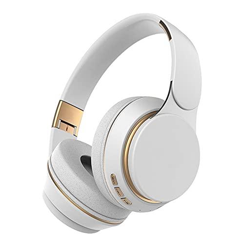 XJPB Auriculares inalámbricos Bluetooth sobre Auriculares para la Oreja con micrófono Tarjeta de Soporte de HiFi Plegable y liviano para el Trabajo de TV de TV de Trabajo de Viaje,Blanco