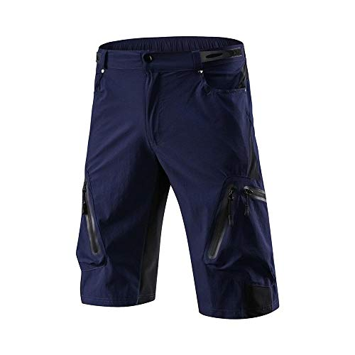 Herren-Radhose, gepolstert, schnelltrocknend und atmungsaktiv, mit mehreren Taschen, königsblau, xxxl