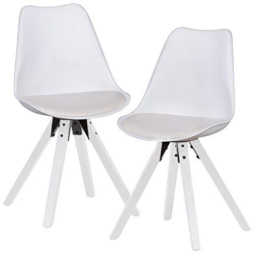 FineBuy 2er Set Retro Esszimmerstuhl mit Schwarzen Beinen | Polsterstuhl Skandinavisch Rückenlehne | Küchenstuhl gepolstert