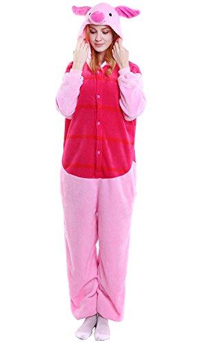 YAOMEI Adulto Unisexo Onesies Kigurumi Pijamas, Mujer Hombres Traje Disfraz Animal Pyjamas, Ropa de Dormir Halloween Cosplay Navidad Animales de Vestuario (M, Cerdito)