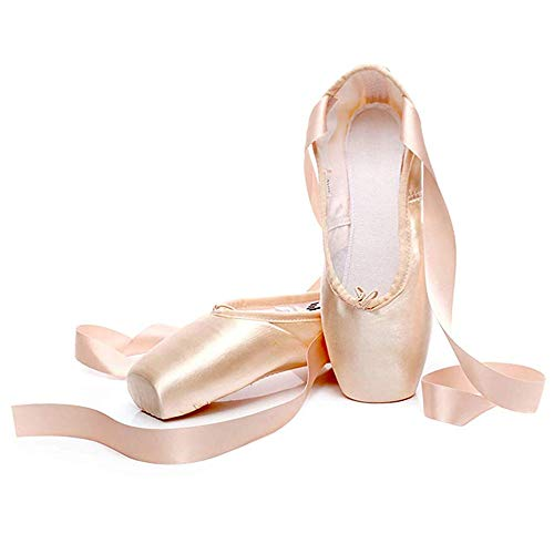 LanXi Girls Womens Dance Shoe Pink Ballet Pointe Shoes for Girls Ballet Flats Shoes with Ribbon Toe Pads Pink Red(5 US,Satin Pink)